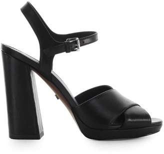 Michael Kors Alexia Platform Black Leather Sandal
