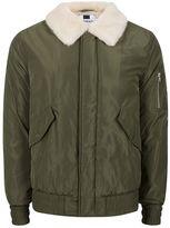 Topman Khaki Faux Fur Lined Flight Jacket