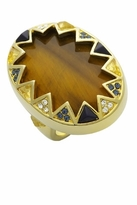 House Of Harlow Tiger's Eye Ring with Resin and Crystals in Gold