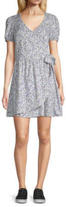 Arizona Juniors Short Sleeve Striped Wrap Dress