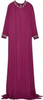 Oscar de la Renta Crystal-embellished Silk Crepe Gown - Burgundy