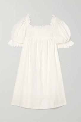 DÔEN Orchard Scalloped Embroidered Cotton-poplin Mini Dress - White