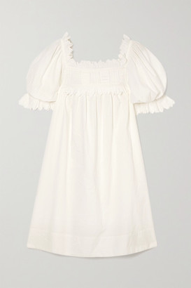 DÔEN Orchard Scalloped Embroidered Cotton-poplin Mini Dress