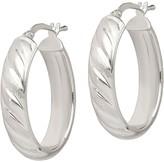 "Italian Silver 1"" Satin & Polished Hoop Earrings"