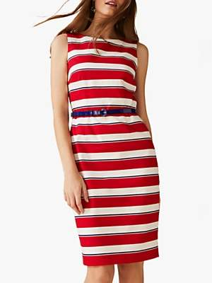 Phase Eight Briony Stripe Dress, Red/Multi