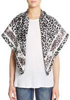 Saks Fifth Avenue BLACK Leopard-Print Silk Scarf