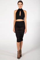 Donna Mizani Mock Neck Keyhole Crop Top