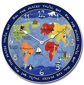 Kids World Map Wall Clock, Available in 8 sizes, Most Sizes Ship 2 - 3 days, Whisper Quiet.