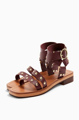 Topshop PILOT Burgundy Leather Stud Sandals