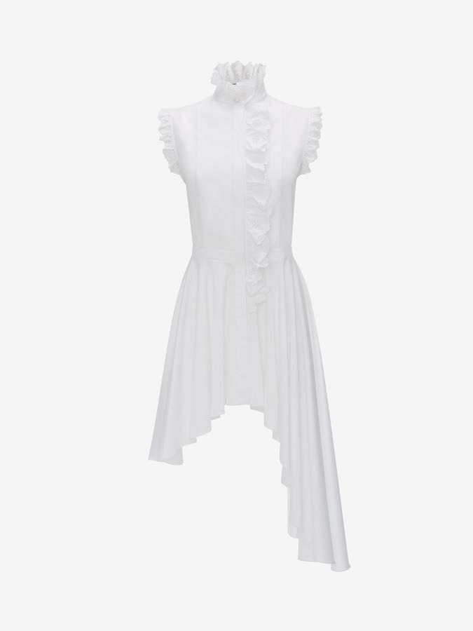 Alexander McQueen Asymmetric Poplin Ruffle Shirt