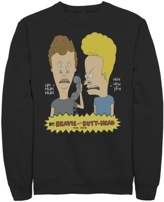 Licensed Character Men's Beavis and Butthead Phone Prank Fleece