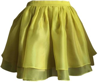 MSGM Yellow Silk Skirt for Women