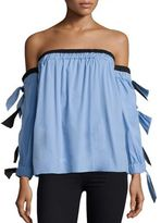 Milly Blythe Tie-Sleeve Off-The-Shoulder Top