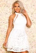 Pink Boutique More Than Friends White Crochet Skater Dress