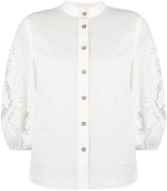 Zimmermann Floral-Lace Balloon-Sleeved Blouse