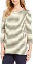 Multiples 3/4 Sleeve Stripe Print Knit Top