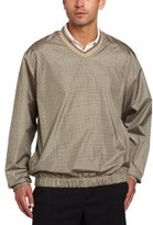 PGA TOUR Men's Long Sleeve V-neck With Tipping, Plaid Printed Wind Shirt