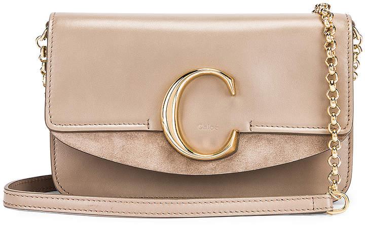 Chloé C Chain Clutch Bag in Motty Grey   FWRD