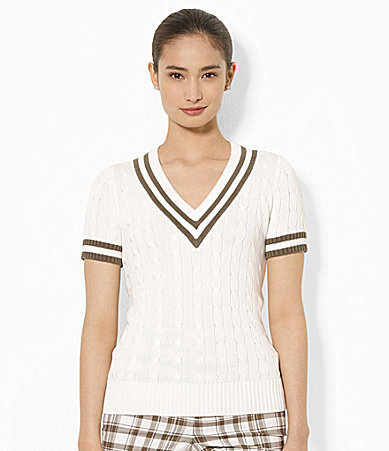 Lauren Ralph Lauren Short-Sleeved V-Neck Cable-Knit Sweater