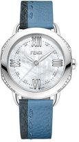Fendi 36mm Selleria Leather Strap Watch, Blue