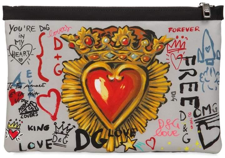 Dolce & Gabbana Murales Printed Nylon Pouch