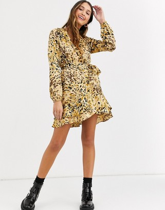 Qed London animal jacquard collared wrap dress