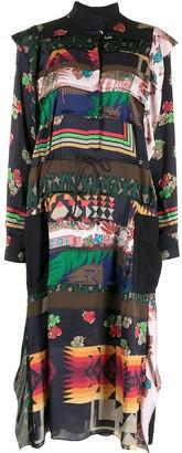 Sacai Multi-Print Drawstring Dress