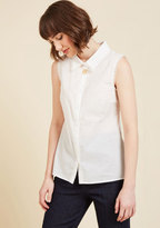 ModCloth Keep Up the Kindness Sleeveless Top in White in XXS
