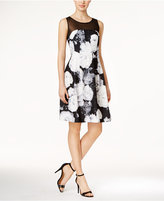 Calvin Klein Petite Illusion Floral-Print Fit & Flare Dress