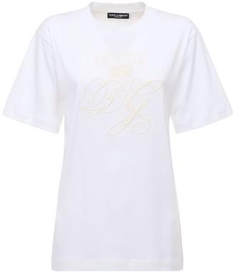 Dolce & Gabbana Oversize Embroidered Logo Jersey T-Shirt