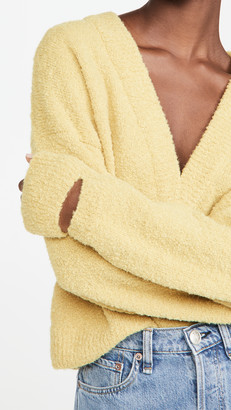 Tibi Slit Cuffs V Neck Cropped Pullover
