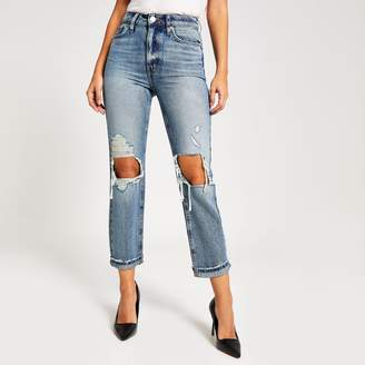River Island Womens Authentic denim ripped Mom jeans