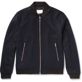 Sandro Leather-trimmed Wool-blend Bomber Jacket - Navy