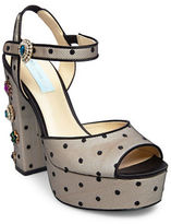 Betsey Johnson Wren Studded Wedge Platform Sandals