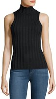Catherine Malandrino Ribbed Metallic Turtleneck Top, Black