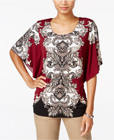 JM Collection Printed Butterfly-Sleeve Top, Only at Macy's