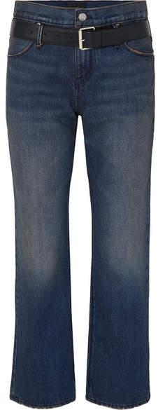 RtA Dexter Belted High-rise Straight-leg Jeans - Dark denim