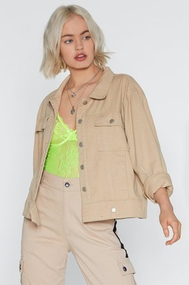 Nasty Gal Womens Denim the Lights Jacket - beige - 10