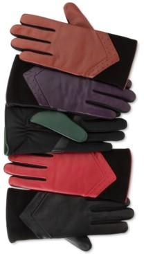Isotoner Signature Women's SleekHeat Leather smarTouch Gloves with Fleece Lining