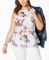 Tommy Hilfiger Plus Size Cotton Peplum Top, Created for Macy's