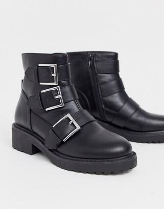 London Rebel multi buckle flat boots in black