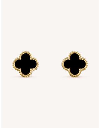 Van Cleef & Arpels Women's Sweet Alhambra Yellow-Gold And Onyx Earrings