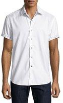 Robert Graham Vertigo Short-Sleeve Sport Shirt, White