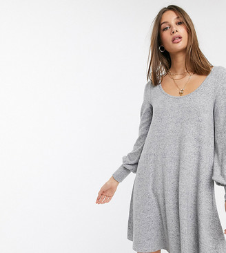 Asos Tall DESIGN Tall long sleeve super soft mini smock dress-Grey