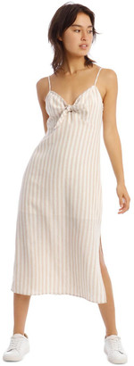 Milk and Honey Linen Midi Tie Front Dress