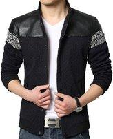 QZUnique Men's Plus Fashion Casual Jacket Big and Tall Press Studs L