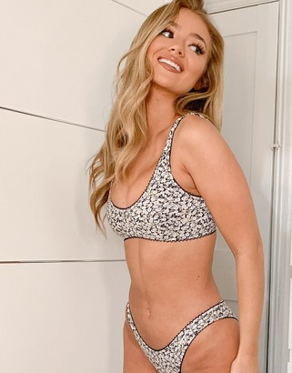 Zulu & Zephyr crop bikini top in floral with lace trim