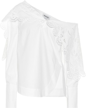Monse Lace-trimmed stretch-cotton top