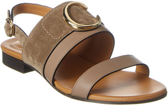 Chloé C Plaque Leather & Suede Sandal