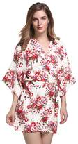 Cliont Women's Cotton Vintage Floral Printing Kimono Robes Pajamas Nightwear Nightgown with Oblique V-Neck